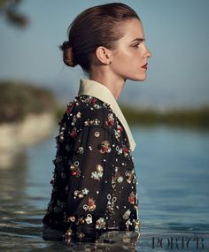 Wearing a Chanel blouse and Catbird earrings.