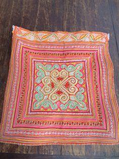 Vintage Hmong fabric Handmade Fabrics, handmade tapestry textiles, hill tribal fabric. $16.99, via Etsy.