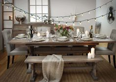 Rustic style dining table with extension is a must! This on is a bit too big but i love it. with comfy chairs. Barn Table, Dining Room Table, Dining Area, Dining Rooms, Urban Barn, Extension Dining Table, Leather Dining Chairs, Dining Room Inspiration, Living Room Lighting