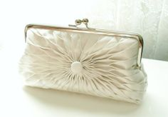 Ivory Satin Button Clutch - Size Large - Ready To Ship  Ask a Question $107.57 USD