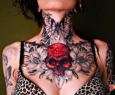 Skull neck tattoo #tattoosonneckwomen