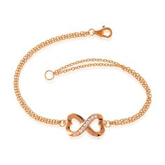 """Sterling Silver 7"""" Rose-Plated Heart-Designed Infinity Figure 8 CZ Bracelet *** Check this awesome product by going to the link at the image. (This is an affiliate link) #Bracelets"""
