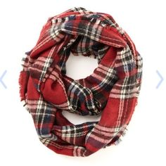 Campus Chill Scarf in Red Plaid infinity scarf by Modcloth in discontinued color. Only worn a few times! ModCloth Accessories Scarves & Wraps