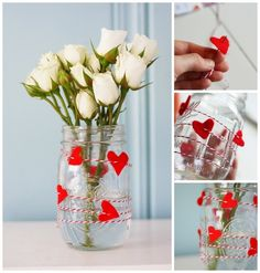 DIY mason jar vase- add string and hearts to it for a cute touch