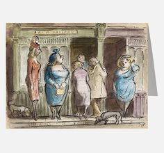 Prostitutes outside the AIA gallery in Soho Reproduced as a greetings card with permission of the estate of Edward Ardizzone. Edward Ardizzone, Fundraising Activities, Social Themes, Pine Design, Mural Painting, Green Turquoise, Card Sizes, Serendipity, Soho