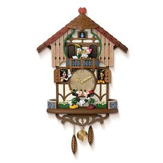 Disney Cuckoo Clock: Sweetheart Chalet by The Bradford Exchange An enchanting Bavarian-style Disney cuckoo clock, Sweetheart Chalet, celebrating the timeless magic of romance and friendship with music and movement, a Bradford Exchange special design created in collaboration with Disney artists
