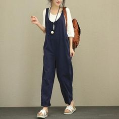 4914bd0b5a0 Summer Cotton Overalls Women Jumpsuit Plus Size Loose Suspenders Harem  Pants Women Solid Color Casual Jumpsuit