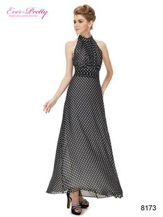Sleeveless Collared Palka Dots Chiffon Long Party Dress