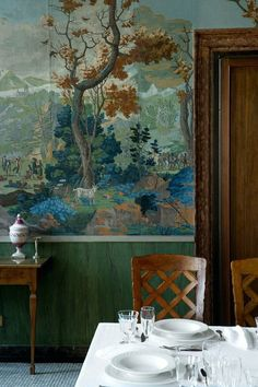 fabulous mural with both grisaille and gorgeous colors in a dining room - sorry, source unkonwn