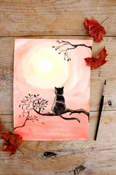 How to Paint Black Cat with Watercolor   The Art 123