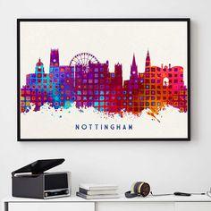 Nottingham Skyline, Nottingham Print, Nottingham Poster, Wall Art Decor,  Birthday Gift, Home Decor, Skyline Print, Giclee (N1010)