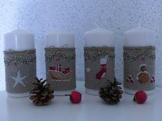 * Pour l'idée, 4 bougies de l'Avent habillées de point de croix* Christmas Candles, Christmas Cross, Christmas Diy, Christmas Ornaments, Embroidery Patterns, Cross Stitch Patterns, Theme Noel, Xmas Crafts, Cross Stitching