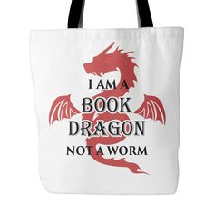 I am a book dragon, Not worm Tote bag-For Reading Addicts