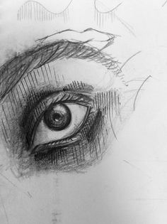 """Untitled eye sketch from memory, undated"" by Vishwani Chauhan, pencil and ink on paper."