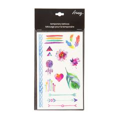 Watercolor Flowers, Feathers and Arrows Temporary Body Tattoos | Icing