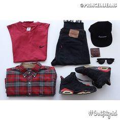 Today's top #outfitgrid is by @princeinjeans. #Vintage #Nike #Tee, #RalphLauren #Shirt, #Custom #Levis by #Lanoir, #Supreme #Cap, #JordanVI #flatlay #flatlayapp #flatlays @flatlayapp