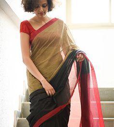 Black beige red cotton by Suta - Cotton Saree Blouse, Saree Dress, Beautiful Saree, Beautiful Outfits, Plain Saree, Stylish Sarees, Elegant Saree, Indian Designer Wear, Saree Blouse Designs