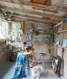 55 Cool DIY Backyard Studio Shed Remodel Design & Decor Ideas - HomeSpecially Home Art Studios, Art Studio At Home, Artist Studios, Art Studio Spaces, Art Studio Room, Craft Studios, Art Spaces, Art Studio Design, Design Art