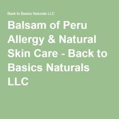 balsam of peru allergy diet #11