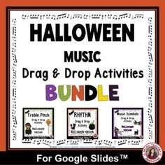 The resources in this BUNDLE are meant to be used with Google Slides™ and can be assigned inside of Google Classroom™; perfect for distance learning.Students will have fun reviewing Treble Pitch note Names, Music Symbols and Notes and Rests with these Drag and Drop activities. Students drag the nam... Child Teaching, Teaching Music, Music Worksheets, Worksheets For Kids, Music Classroom, Classroom Resources, Halloween Music, Music Symbols, Music Activities