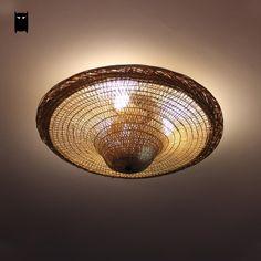 Bamboo Wicker Rattan Hat Ceiling Light Fixture Vintage Industrial Retro Lamp #Soleilchat #Industrial