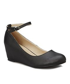 Chase  Chole Bobby1 Womens Closed Toe Low Wedge Ballet Flat Mary Jane Ankle Strap Black 75 B M US >>> Click on the image for additional details. Note:It is Affiliate Link to Amazon.