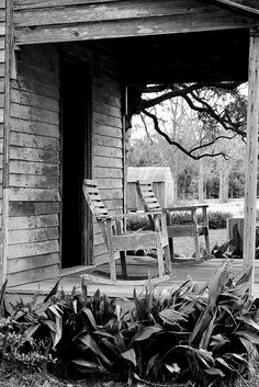 old front porches <3 These rockers look like the ones that were on my grandma's front porch.