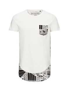 BLACK AND WHITE LONG FIT T-SHIRT, Cloud Dancer