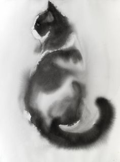 """Saatchi Art Artist Agnes Bodor; Painting, """"Our black and white cat"""" #art"""