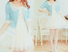 Very kawaii outfit with the pastel blue peter pan collared sweater and white dress underneath.