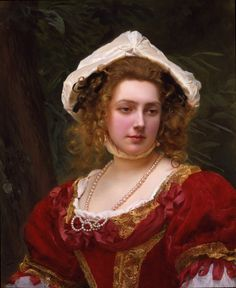 "Young Girl with Red Dress  Gustave Jean Jacquet (1846-1909) Oil on canvas 60.96 x 76.2 cm (24"" x 30"")"