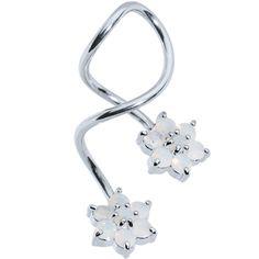 Flower CZ Super Spiral Twister Belly Ring | Body Candy Body Jewelry #bodycandy #piercings #bodyjewelry
