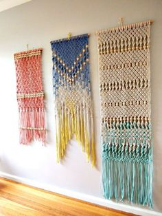 Macramé Wall Hanging by ouchflower Australian artist Pippa Taylor of ouch flower made her first macrame hanger during high school in the and years later revisited the craft after spying a macrame hanging in a shop. Macrame Art, Macrame Projects, Macrame Knots, Craft Projects, Macrame Wall Hangings, Macrame Supplies, Macrame Dress, Macrame Curtain, Crochet Kawaii
