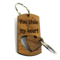 STOLE MY HEART Couple Keyring wooden keyring personalised