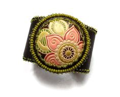 Leather cuff bracelet floral ceramic bead by MoonsafariBeads, $120.00