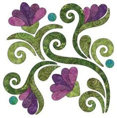 Radiant - Block A - Winter - Applique By Patricia E. Ritter Laser-cut fabric applique elements backed with Steam-A-Seam 2 Flower Applique Patterns, Applique Templates, Quilt Block Patterns, Owl Templates, Felt Patterns, Embroidery Designs, Applique Designs, Quilting Designs, Quilting Stencils