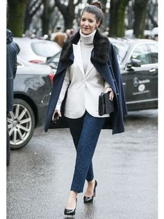 White blazers during winter is huge for us, mostly because we intensely miss our spring wardrobe.  Read more: Street Style at Fall 2013 Milan Fashion Week - MFW Street Style Pictures - Marie Claire  Follow us: @Marie Claire on Twitter | MarieClaire on Facebook  Visit us at MarieClaire.com