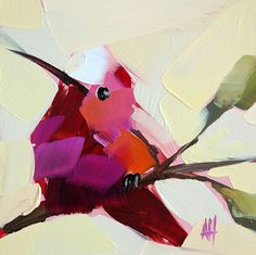 Hummingbird no. 52 original bird oil painting by Moulton 5 x 5 inches on panel prattcreekart