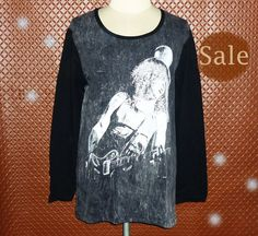 Image of Slash Guns N Roses shirt punk rock t shirt stone wash clothing long sleeved bleached shirt S M L XL