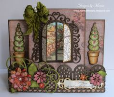 Designs by Marisa.Home Is Where The Heart Is - Heartfelt Creations. Step card with window and flowers