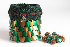 Hey, I found this really awesome Etsy listing at https://www.etsy.com/listing/536754749/celtic-dice-bag-green-and-bronze