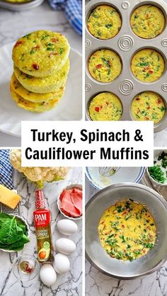 Turkey, Spinach and Cauliflower Muffins (Video Recipe) Chef Recipes, Egg Recipes, Pasta Recipes, Soup Recipes, Vegetarian Recipes, Chicken Recipes, Healthy Recipes, Healthy Food, Potato Recipes