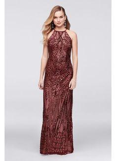 Allover Sequin Crisscross-Back Sheath Gown 21576