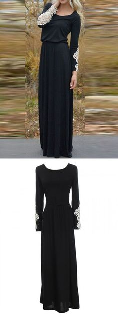 Full black dress with lace panel long sleeve maxi dress #style #fashion