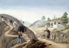 Firing a Dragon Kiln, China, ca. 1820, gouache on paper