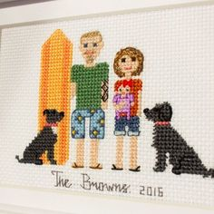 2 Adults A Child Pets. Custom Cross Stitch от RussianStitches