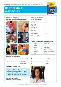 daily routine worksheet wl teachers of pbc pinterest worksheets language and teacher. Black Bedroom Furniture Sets. Home Design Ideas