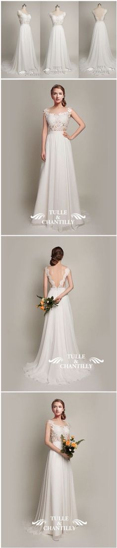 15d8f7518db39f Beach Wedding Ideas - Exquisite Open Back Tulle and Lace Wedding Dress 2015  With Cap Sleeves - See more at