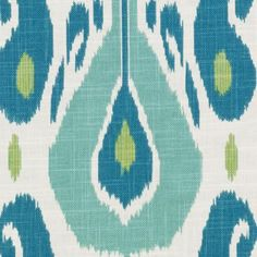 Fazil 601 Aqua Green:John Robshaw Designer Fabric -tribal ikat print on heavy slubby basket fabric Ikat Fabric, Drapery Fabric, Green Fabric, Fabric Decor, Fabric Design, Tropical Upholstery Fabric, Beach Fabric, Upholstery Fabrics, Cotton Fabric