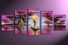 Foto de Pintura al óleo africana de la lona de arte (AR-003) en es ...